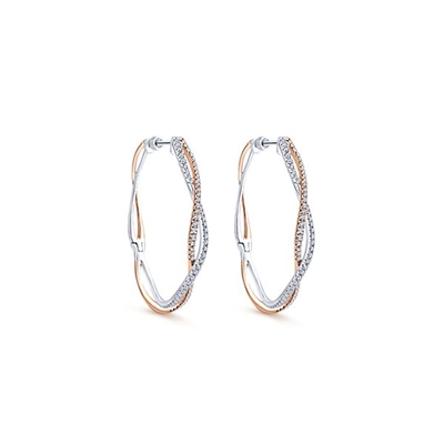 14K White and Rose gold diamond hoop earrings with 1.03 carats of diamond shine.