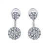 Double diamond clusters hang from 14k white gold in this unique pair of diamond stud earrings.