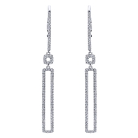 This 14k white gold rectangle diamond drop earring pair is a fantastic and stylish way to bring out over one half carats of round brilliant diamond shine in this white gold diamond pair of earrings.