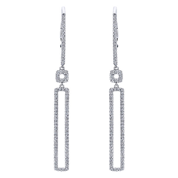b0f7bee12 This 14k white gold rectangle diamond drop earring pair is a fantastic and  stylish way to