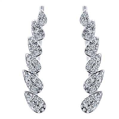 These stylish cascading pear diamond cuff earrings feature nearly one quarter carats of round brilliant diamonds in a familiar pattern.