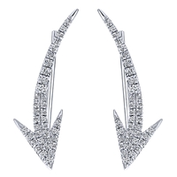 These 14k white gold diamond cuff earrings feature prominent diamond arrow shapes thats showcase over one quarter carats of round brilliant diamonds.