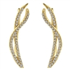 This 14k yellow gold diamond wave cuff earring set features delicate curves and an elegant style.