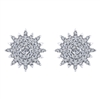This gorgeous white gold pair of diamond earrings is somewhere between a bright star and a frozen snowflake, with nearly one half carats of round diamonds, who cares what we call it!