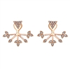 These rose gold earrings feature an inverted pyramid with a diamond leaf structure underneath in 14k rose gold.