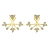 These yellow gold earrings have a pyramid diamond stud attached to diamond leaves that extend to wrap around the earlobe, all in 14k gold!