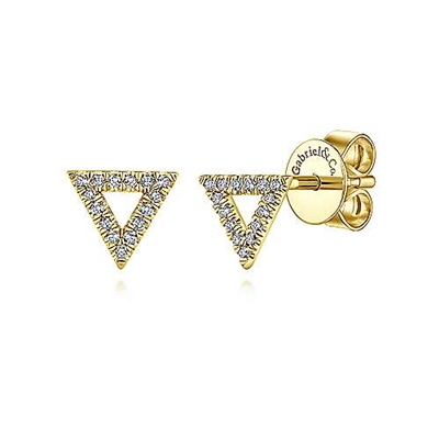 This 14k yellow gold pair of diamond stud earrings are set into triangles.