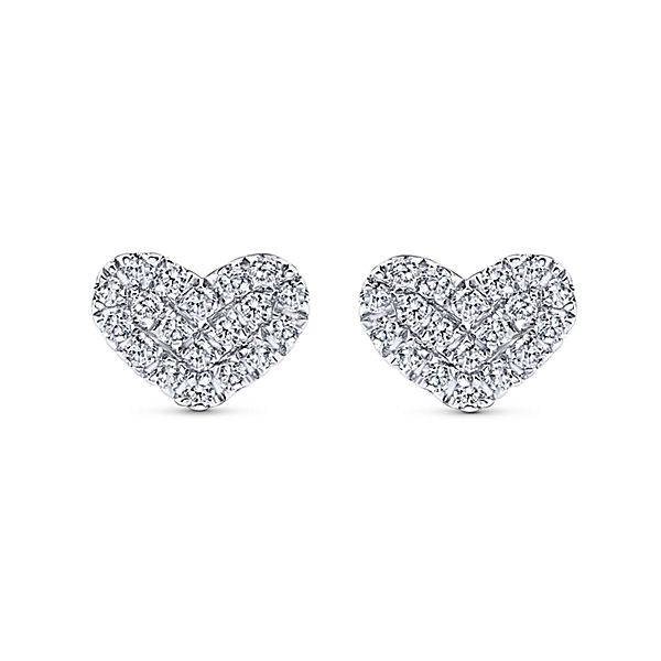 0a31accb7b3 14K White Gold Diamond Heart Stud Earrings