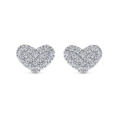 This pair of 14k white gold diamond heart stud earrings feature 0.12 carats.