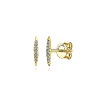 These 14k yellow gold diamond bar earrings feature 0.07 carats of diamonds.