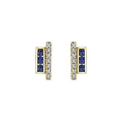 This 14k yellow gold diamond stud earring partners with sapphires.