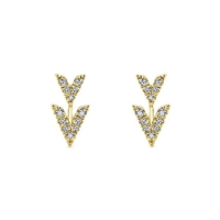 14k yellow gold diamond studs with unique v sections.