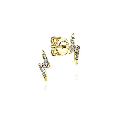 These 14k yellow gold diamond stud earrings are in the shape of lightning bolts.