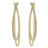 These astounding 14k yellow gold diamond hoop earrings feature 1.30 carats in diamond brilliance that swoop and swirl up and down this diamond hoop earring.