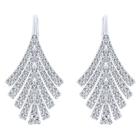 This eye catching 14k white gold pair of diamond drop earrings showcases over three quarter carats of round brilliant diamonds in a seductive feather pattern.