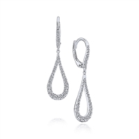 This 14k white gold diamond tapered drop earrings are loaded with 0.51 carats of shine.