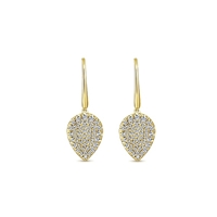This french wire 14k yellow gold diamond leaf pair of earrings showcases 0.85 carats of diamonds.