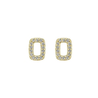 This 14k yellow gold pair of diamond stud earrings feature a rectangle shape.