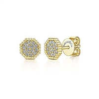 This cluster diamond stud earring is n 14k yellow gold in an octagon shape.