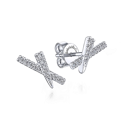This 14k white gold diamond tapered x stud earrings feature 0.11 carats of diamonds.