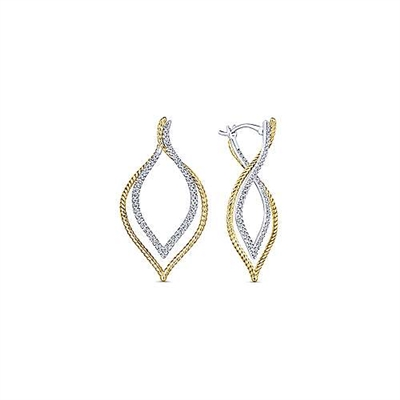 14k white and yellow gold diamond layered hoops with 0.65 carats of diamonds.