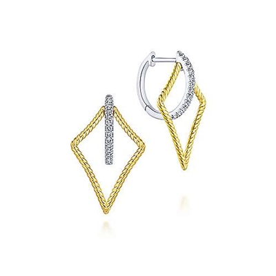 14k two tone earrings with diamond accents.