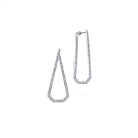 Diamonds dangle from 14k white gold in these geometric hanging earrings.