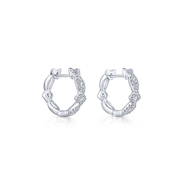 14k White Gold Split Swirl Diamond Hoop Earrings