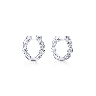 14k white gold huggie earrings with diamonds.