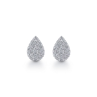 This pair of 14k white gold diamond earrings showcase diamonds in a tear drop shape.