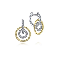 14k white and yellow gold combine to form these diamond drop hoop earrings.