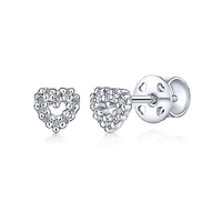 This pair of 14k white gold diamond stud earrings are in a heart shape.