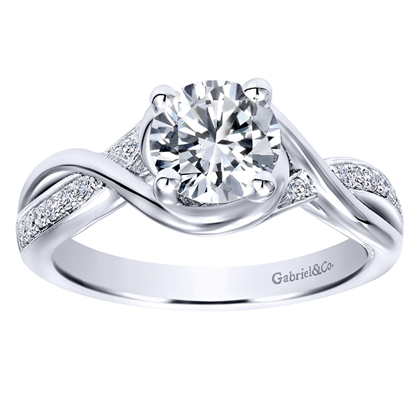 14k white gold contemporary criss cross engagement zring - Cross Wedding Rings