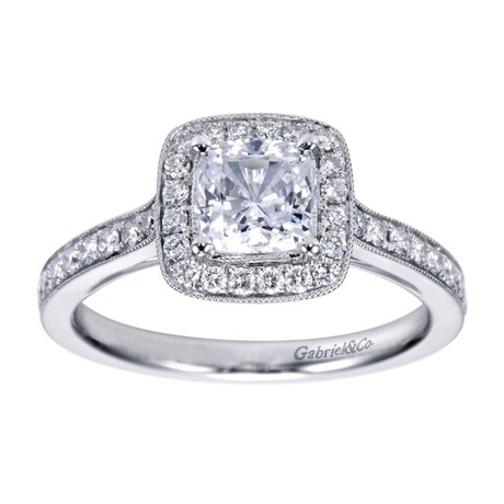 1269bef3e64 14K White Gold Cushion Cut Diamond Halo Engagement Ring