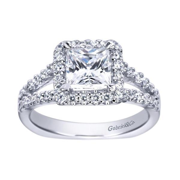 14k White Gold Split Shank Princess Halo Engagement Ring