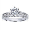 Well designed and beautifully styled, this vintage style straight engagement ring has a flair for the dramatic with 1/3 carats in round diamonds, available in white gold or platinum.