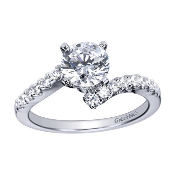 14k White Gold Contemporary Diamond Engagement Ring