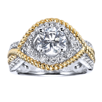 Ornate and intricate, this two tone contemporary free form engagement ring attempts to match the uniqueness of your one and only!