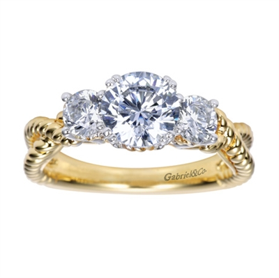 3 Round brilliant diamonds bring this two tone 14k or 18k gold contemporary engagement ring into focus, featuring 1/2 carat in diamonds.