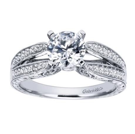 14k White Gold Vintage Split Shank Engagement Ring