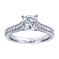 Some style to go along with substance is always appreciated, with 1/3 carats in round brilliant diamonds and your choice of white gold or platinum, this vintage style engagement ring is definitely stylish and substantial