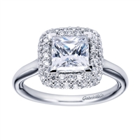 A double row of diamonds encapsulates a princess cut center diamond in this variation of a contemporary halo engagement ring.