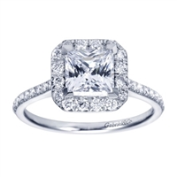 This beautifully crafted diamond halo engagement ring is fit for a princess (and a princess cut diamond!), with over one third carats of diamonds in your choice of metal, made available by Gabriel & Co.