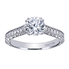 A wonderfully full of round brilliant diamond straight vintage style engagement ring in 18k white gold or platinum.
