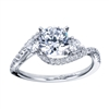 Round brilliant diamonds bedazzle in your choice of white gold or platinum diamonds in this contemporary 3 stone style engagement ring.