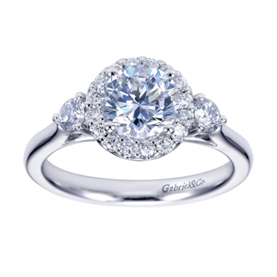 Is it a 3 stone engagement ring or a round diamond halo engagement ring? with a half carat in round diamonds, everyone will have fun guessing.