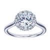 14K White Gold Contemporary Halo Engagement Ring