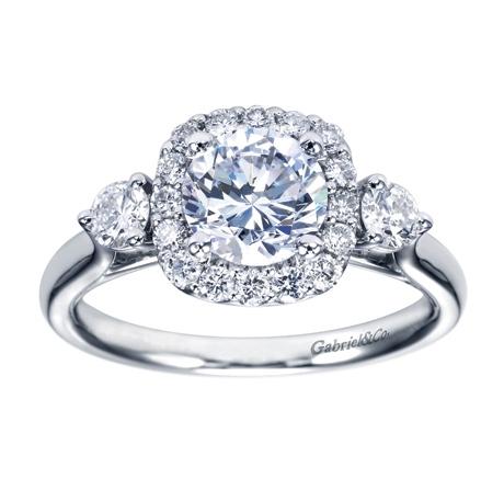 49223e3e2d01b 14K White Gold 3 Stone Halo Engagement Ring