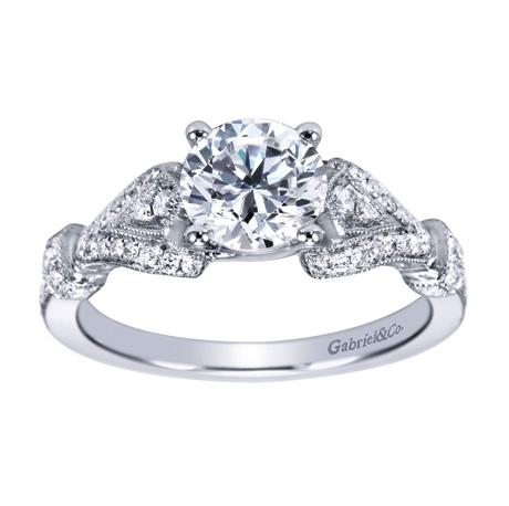 14k White Gold Vintage Straight Engagement Ring