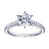 Straight white gold bands and round diamonds firm up this white gold contemporary straight engagement ring.